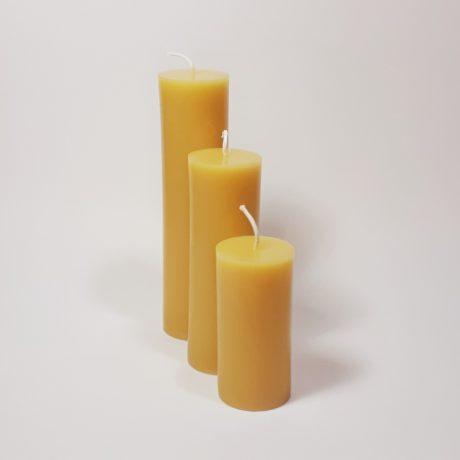 Beeswax 2 inch Round Pillar Candles