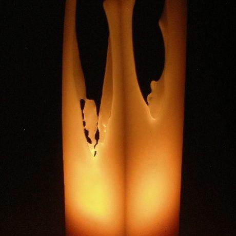 Beeswax 2x2x8 Square Pillar Candle Burning