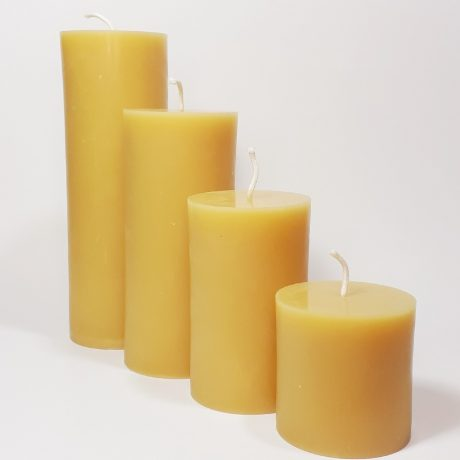 Beeswax 3 inch Round Pillar Candles