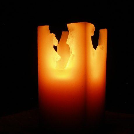 Beeswax 3×3 Square Pillar Candle Burning