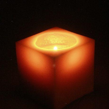 Beeswax Square Pillar Candle Burning