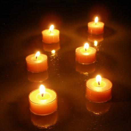 Beeswax Tealight Candles Burning