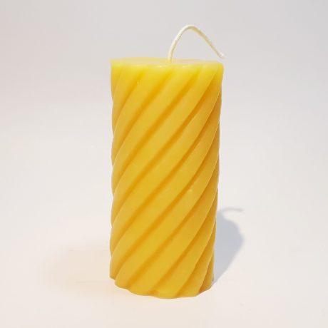 Arbutus Candle Company Beeswax 2.5×4.25 Spiral Pillar Candle