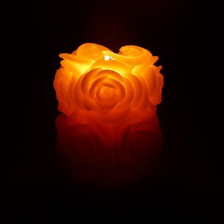 Arbutus Candle Company Beeswax Rose Pillar Candle Burning